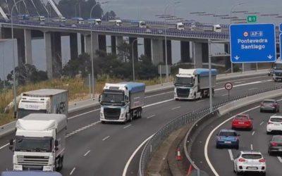 Los transportistas gallegos del carbón camino de Madrid.
