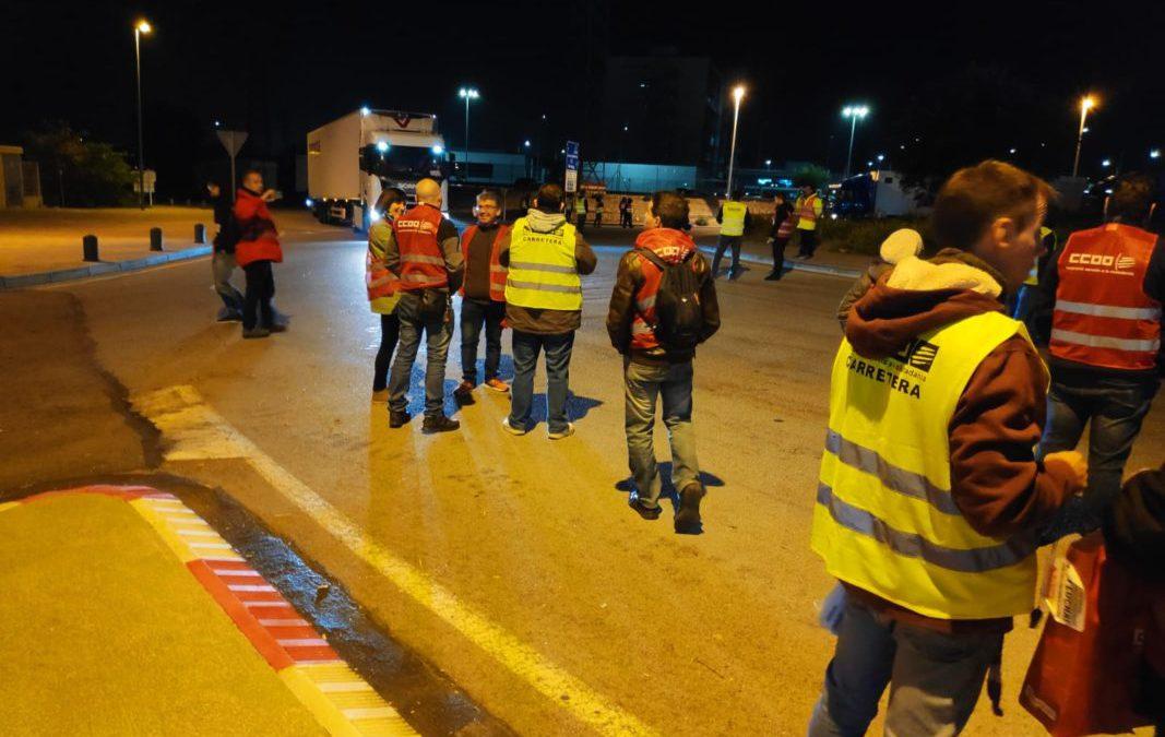 Jornada sin incidencias durante la huelga de transporte de mercancías de Barcelona