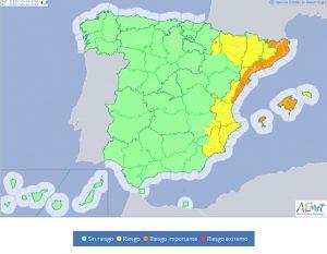 Riesgo amarillo y naranja en el área mediterránea