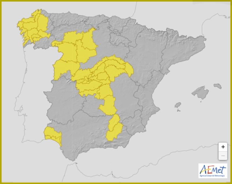 La AEMET activa el aviso amarillo por riesgo de tormentas