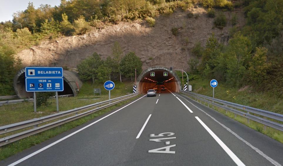 Restricciones de circulación en la A-15 debido a las obras del túnel de Belabieta